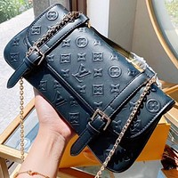 LV New fashion monogram leather chain shoulder bag handbag crossbody bag Black