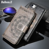 Balleen.E Phone Case For iPhone 7 7 Plus Mandala Flower Holster Leather Wallet Flip Style With Card Back Cover Case For iPhone 7