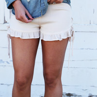 Sideways Cream Ruffle Shorties