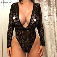 RLMABABY Sexy Deep V Neck Lace Bodysuit Long Sleeve Perspective Rompers Womens Jumpsuit Night Club Party Black Bodysuit Overalls
