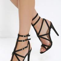 Bound to Appear Black Caged Heels