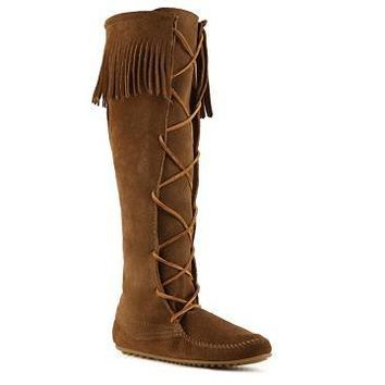 Minnetonka Lace Up Suede Boot