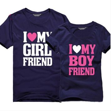 Boyfriend and Girlfriend Matching Love T Shirts for Couples Set of 2 Personalized Couples Gifts | His Her Necklaces and Bracelets | Engraved Wedding Rings | Couples Clothing