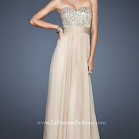 La Femme Strapless Prom Gown
