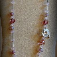 Mystic Quartz Necklace with Lampwork Beads and Sterling Silver, Statteam