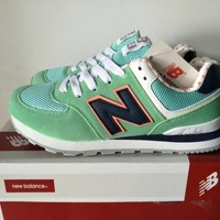 """""""New Balance 574"""" Women Sport Casual Multicolor N Words Sneakers Running Shoes"""