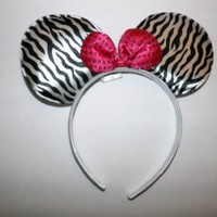 minnie mouse ears headband zebra animal print - pink sequin bow mickey