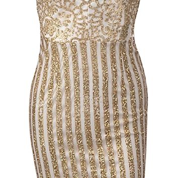 Gloria Gold Sequined Striped Dress