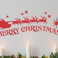 Merry Christmas Santa Sleigh | Holiday Decal | Vinyl Wall Lettering