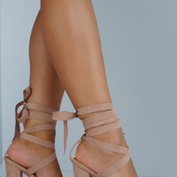 Sage Lace Up Block Heel - Mauve