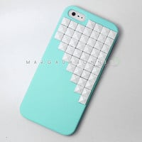 FREE Shipping US - iPhone 5 White Studs Studded Mint Rubberized Hard Phone Case AT&T Verizon Sprint