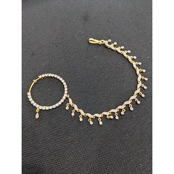Large CZ stone Nose Ring with Chain