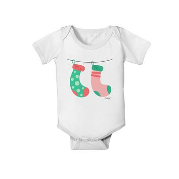 TooLoud Cute Mr and Mrs Christmas Couple Stockings Baby Romper Bodysuit