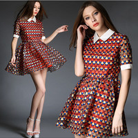 Orange Geometric Print Short-Sleeve Collared Dress