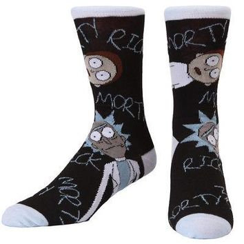 Rick And Morty Existential Stare Adult Crew Socks - Black