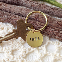 Custom Year Stamped Brass Key Ring