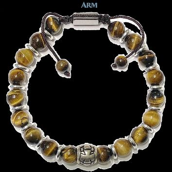 FAITH | Tiger Eye | Cross | Pull-Tie Adjustable Macrame Bracelet