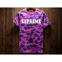 Supreme & Bape Joint Camouflage Full Print Short Sleeve Lightweight Breathable T-Shirt F-A-KSFZ Purple