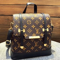 LV Louis Vuitton New Woman Men Fashion Leather Travel Bookbag Shoulder Bag Backpack Black