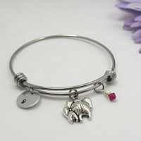 Elephant Bangle Bracelet - Birthstone Jewelry - Initial Charm - Birthday Bracelet - Zodiac Jewelry - Personalized Gift - Custom Bracelet