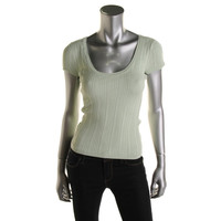 Guess Womens Ribbed Knit Scoop Neck Casual Top