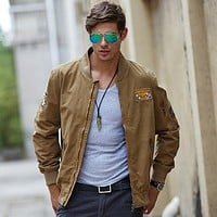 Men's Cotton Embroidery Zip Pocket Jacket Coats