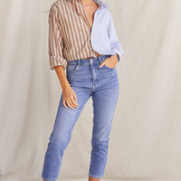 Urban Renewal Recycled Spliced Cropped Button-Down Shirt | Urban Outfitters