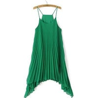 Flowy Pleated Spaghetti Strap Dress