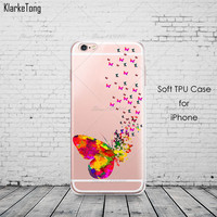 Colorful Butterfly Clear Phone Case For iPhone 7 7Plus 6 6s Plus 5 5s SE