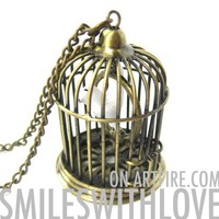 SALE - 3D Birdcage Bird Dove Animal Charm Necklace in Brass