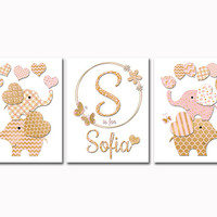 Gold nursery decor pink elephant wall art decoration for baby girl room baby shower gift name print by Pink Rock Babies