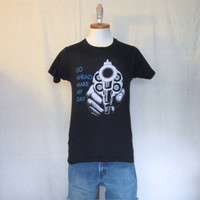 Vintage Deadstock 80s DIRTY HARRY GRAPHIC Movie Make My Day Gun Black Screen Stars Small  50/50 T-Shirt