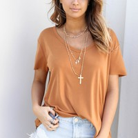 Double Date Almond V-Neck Top