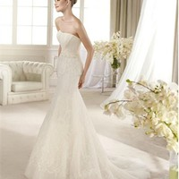 White Mermaid Strapless Lace Tulle 2013 Wedding Dress IWD0190 -Shop offer 2013 wedding dresses,prom dresses,party dresses for girls on sale. #Category#