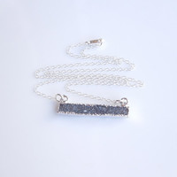 Black Druzy Bar Necklace in Silver - Layered Necklace - OOAK Jewelry