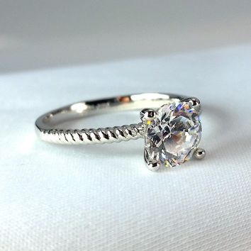 Désirée 1.25CT Round Cut Solitaire IOBI Simulated Diamond Ring for Women Bridal Engagement