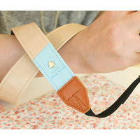 """Alice leather camera strap 1.2"""" in two tone Beige and Mint"""