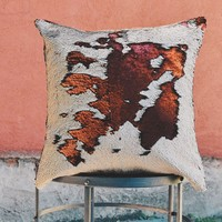 Matte Brick Red & Champagne Sequin Mermaid Pillow Cover
