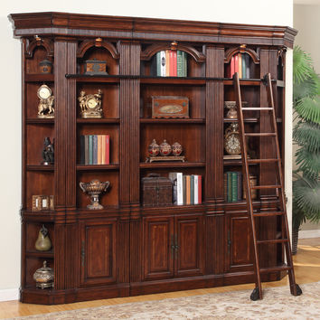 Wellington Library 5 Piece Bookcase Wall Vintage Brown Mahogany