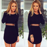 Cutout Mesh Long Sleeve Bodycon Dress