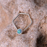 SEPTUM RING / Nose Ring / EAR / Cartilage Sterling Silver with 2 mm synthetic Opal. Handcrafted