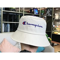 Champion 2019 new men and women wild casual visor fisherman hat White
