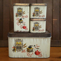 Vintage Metal 1776 Bicentennial Eagle Matching Bread Box and Canister Set