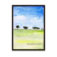Abstract landscape country tree sky field watercolor painting Blue green bright color nature abstract wall art print poster decor  5x7 8x10