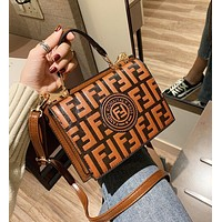 FENDI New Stylish Women Leather Handbag Bag Shoulder Bag Crossbody Satchel Brown