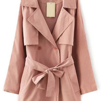 Pink Notched Collar Tie-waist Long Sleeve Trench Coat