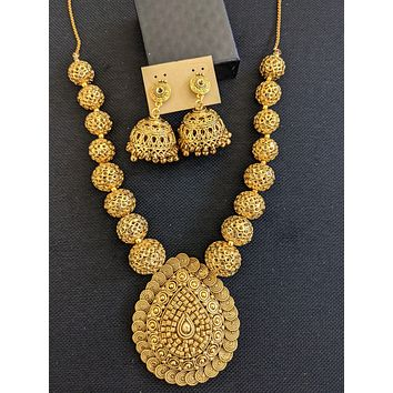 Antique gold Ball chain Pendant Necklace and Earrings set