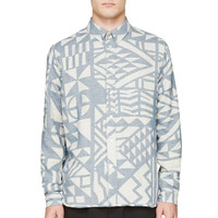 Paul Smith Red Ear Grey And Blue Geometric Flannel Shirt