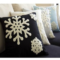 Canvas Cotton Embroidery Throw Covers Christmas Snow Square Throw Pillow Covers ...