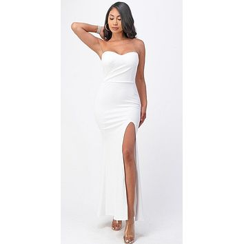 Long Fitted Sheath White Party Dress Strapless With Slit
